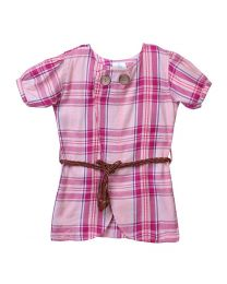 Lilpicks Pink Check Puff Sleeves Long Girls Top-babycouture.in
