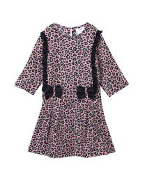 Lilpicks Pink Tiger Print Frilled Girls Dress-babycouture.in