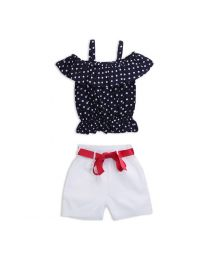 Lilpicks Polka Dots Top and White Girls Shorts Set-babycouture.in