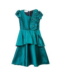 Lilpicks Raw Silk Emerald Green Peplum Baby Girl Gown-babycouture.in