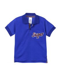 Lilpicks Royal Blue Half Sleeves Sequin Super Patch Polo Kids Tshirt-babycouture.in