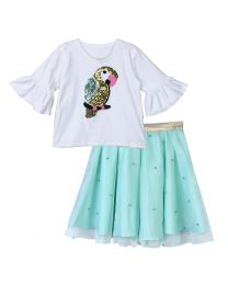 Lilpicks Sequin Parrot Bell sleeves top and Green Pearl Skirt Set-babycouture.in