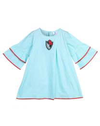 Lilpicks Sky Blue Rose Embroidery Bell Sleeves Girls Dress-babycouture.in