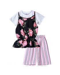 Lilpicks Smart Floral Multicolor Striped Girls 3pc Set-babycouture.in