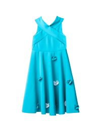 Lilpicks Turquoise Off Shoulder Petal Girl Gown-babycouture.in