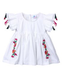 Lilpicks White Embrodiery Tasseled Long Girls Top-babycouture.in