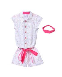 Lilpicks White Neon Triangle Print Cotton Jumpsuit With Headband-babycouture.in