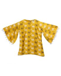 Lilpicks Yellow Camel Print Bell Sleeves Girls Top-babycouture.in