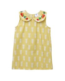 Lilpicks Yellow Pineapple Print Embroidered Girls Dress-babycouture.in