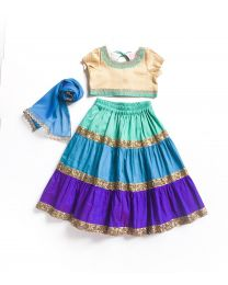 Little Pixie Blue & Multicolor Vibrant Lehanga Choli Set-babycouture.in