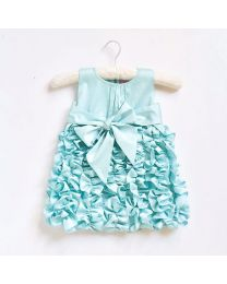 Little Pixie Butter Cream Blue Kids Party Dress-babycouture.in