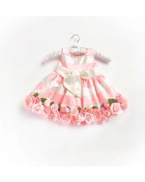 Little Pixie Embellishment Floral Peachy Kids Party Dress- babycouture.in