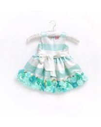 Little Pixie Embellishment Mint Floral Kids Party Dress-babycouture.in