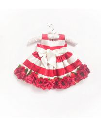 Little Pixie Embellishment Red Floral Kids Party Dress-babycouture.in