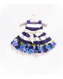 Little Pixie Ink Blue Floral Kids Party Dress
