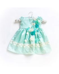 Little Pixie Lacey Aqua Rose Kids Party Dress-babycouture.in
