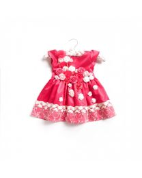 Little Pixie Lacey Red Rose Kids Party Dress-babycouture.in