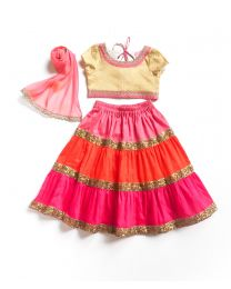Little Pixie Multicolor Vibrant Lehanga Choli Set-babycouture.in