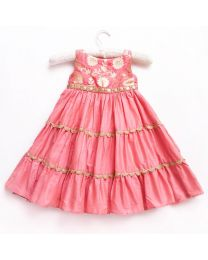Little Pixie Pretty Peachy Pink Glamorous Party Gown-babycouture.in