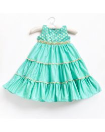Little Pixie Teal Blue Color Gorgeous Party Gown-babycouture.in
