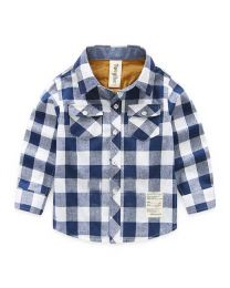 Lovely Blue & White Big Checks Shirt-babycouture.in