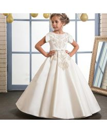 Lovely Diana Creme Kids Gown-babycouture.in