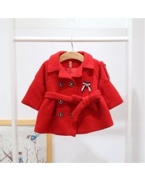 Lovely English Style Red Coat With Belt-babycouture.in