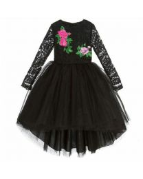 Lovely Black Lace High Low Kids Party Dress-babycouture.in