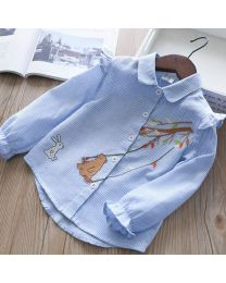 Lovely Blue Bear Kids Shirt-babycouture.in