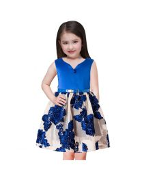 Lovely Blue Florida Net Kids Party Dress-babycouture.in