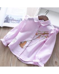 Lovely Pink Bear Kids Shirt-babycouture.in