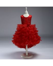 Lovely Red Ruffled Kids High Low Dress-babycouture.in