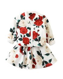 Lovely Roses Zipper Kids Skirt Set-babycouture.in