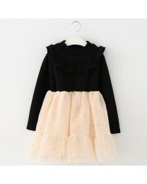 Midnight Black & Beige Fleece Kids Dress-babycouture.in