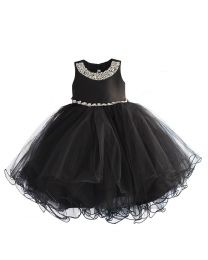 Midnight Black & Starry Kids Party Dress-babycouture.in