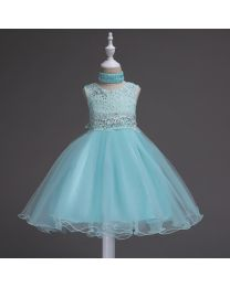 Minty Glitter Love Kids Party Dress-babycouture.in