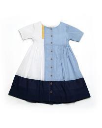 MT Deep Inside Ocean Light Blue White Baby Girl Dress-babycouture.in