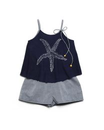 MT Deep Inside Ocean Navy Blue Star Fish Baby Girl Romper-babycouture.in