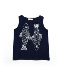 MT Deep Inside Ocean Trout Navy Blue Baby Girl Top -babycouture.in