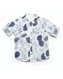 MT Deep Inside Ocean White Fossil Baby Boy Shirt-babycouture.in