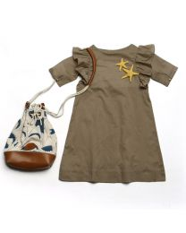 MT Deep Inside Ocean Star Fish Khaki Baby Girl Dress-babycouture.in