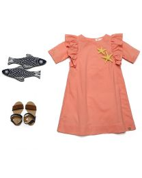 MT Deep Inside Peach Star Fish Khaki Baby Girl Dress-babycouture.in