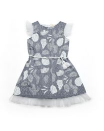 MT Deep Inside Ocean Light Blue Frill Baby Girl Fossil Dress-babycouture.in