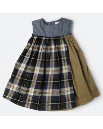 MT Marine Friend Blue Check Piranha Baby Girl Dress-babycouture.in