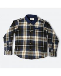 MT Marine Friend Navy Blue Check Perch Baby Boy Shirt-babycouture.in
