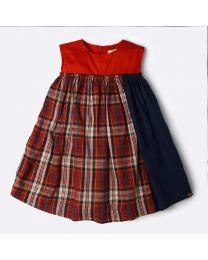 MT Marine Friend Red Check Piranha Baby Girl Dress-babycouture.in