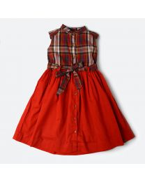 MT Marine Friend Red Perch Dress Baby Girl Dress-babycouture.in