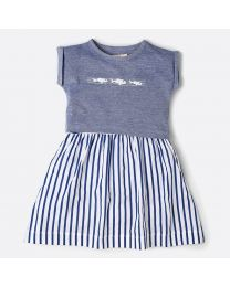 MT Marine Friend Remora Blue Baby Girl Dress-babycouture.in