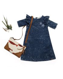 MT Deep Inside Ocean Navy Blue Star Fish Khaki Baby Girl Dress-babycouture.in
