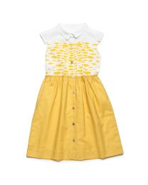 MT Deep Inside Ocean Mustard Fish Print Baby Girl Dress-babycouture.in